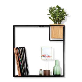 Umbra - Cubist Wall Shelf - Natural Beech/Black - Large (H38.1 x W38.7 x D11.4cm)