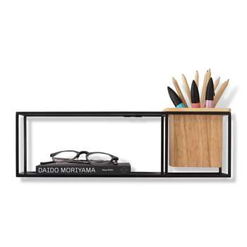 Umbra - Cubist Wall Shelf - Natural Beech/Black - Small (H38.1 x W11.4 x D11.4cm)