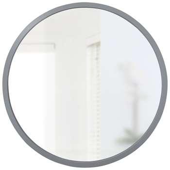 Umbra Hub Round Mirror, Dia.94cm, Grey (H94 x W94 x D2.5cm)