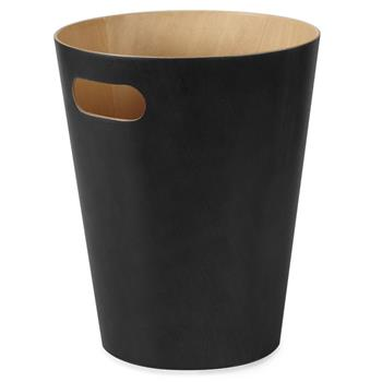 Umbra Woodrow Waste Bin - Black (H27.9 x W22.9 x D22.9cm)
