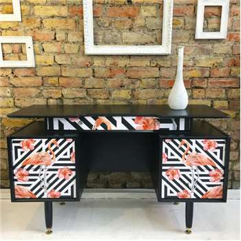 Muck N Brass - Upcycled Vintage Retro Gplan Gold Label Dressing Table Desk Geometric Flamingos (H75 x W125 x D47cm)