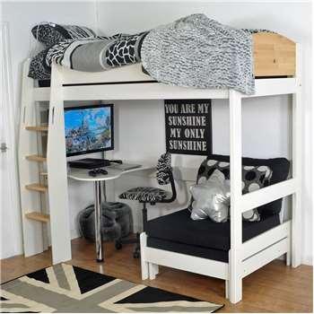 Urban Kids High Sleeper Bed 2 in White and Birch (180 x 116cm)