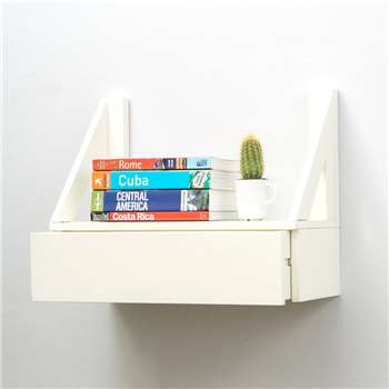 Urbansize Floating Beech Shelf With Drawer (32 x 40cm)