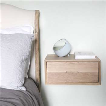 Urbansize - Floating Oak Double Drawer Bedside (H18 x W40 x D30cm)