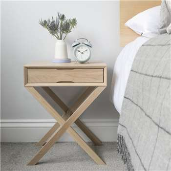 Urbansize Oak Bedside Table With Crossover Leg (50 x 40cm)