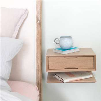 Urbansize - Oak Floating Bedside Table With Drawer And Shelf, Small (H18 x W30 x D20cm)