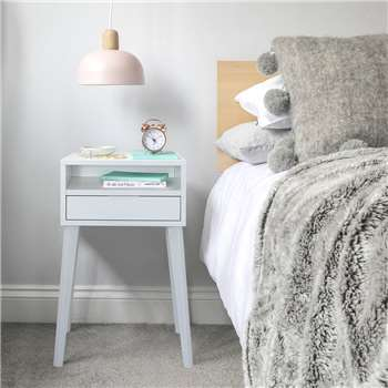 Urbansize - White Bedside Table With Angled Legs (H50 x W35 x D30cm)