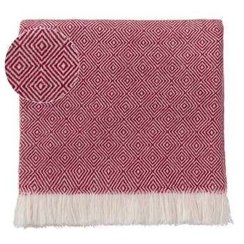 Uyuni Cashmere Blanket, Bordeaux Red & Cream (140 x 200cm)
