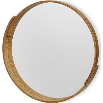 V&A Plywood Round Mirror, Natural (Diameter 52cm)