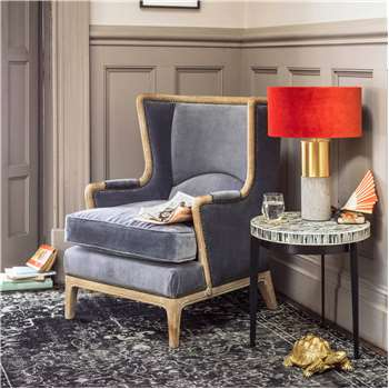 Valentin Grey Velvet Armchair (H92 x W70 x D70cm)