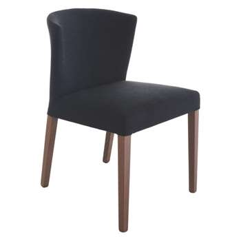 Valentina Dark Grey Upholstered Dining Chair, Walnut