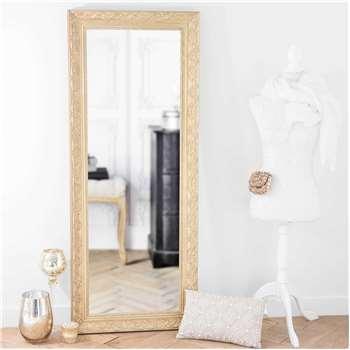 VALENTINE paulownia wood mirror in gold H 145cm