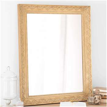 VALENTINE paulownia wood mirror in gold H 90cm