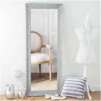 VALENTINE paulownia wood mirror in silver H 145cm