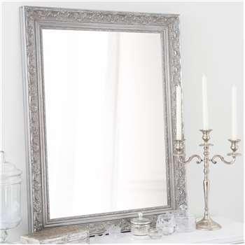 VALENTINE paulownia wood mirror in silver H 90cm