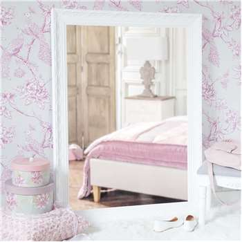 VALENTINE paulownia wood mirror in white H 120cm