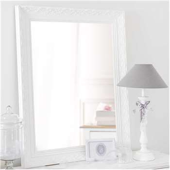 VALENTINE paulownia wood mirror in white H 90cm
