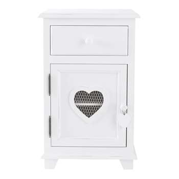 VALENTINE Wooden bedside table with drawer in white (64 x 40cm)