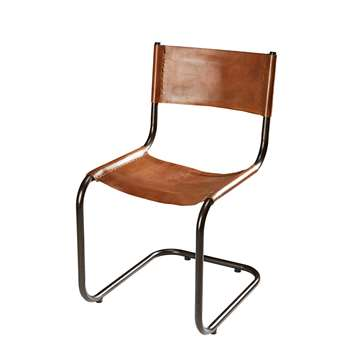 VALMY Camel calfskin and black metal chair (84 x 47cm)