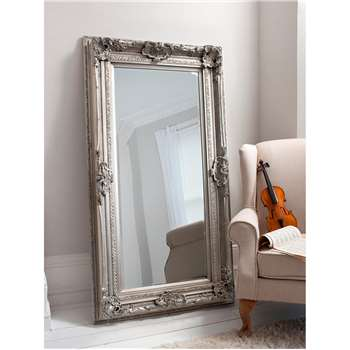 Valois Rectangular Decorative Frame Leaner/Wall Mirror, Silver (H183 x W96 x D6cm)