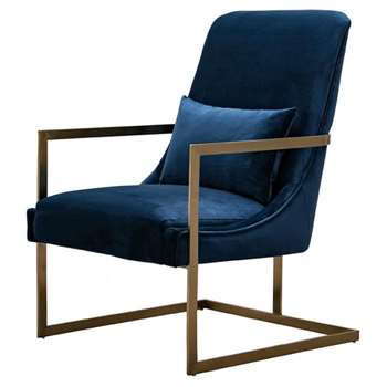 Vantagio Lounge Chair - Navy Blue - Brushed Gold Base (H80 x W67 x D86cm)