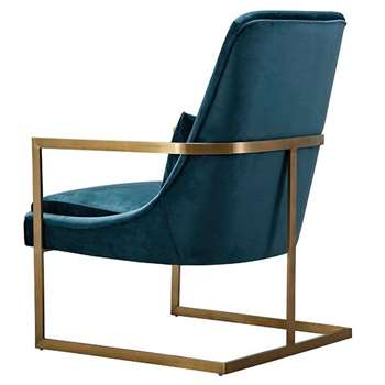 Vantagio Lounge Chair - Peacock - brushed gold base (H80 x W67 x D86cm)