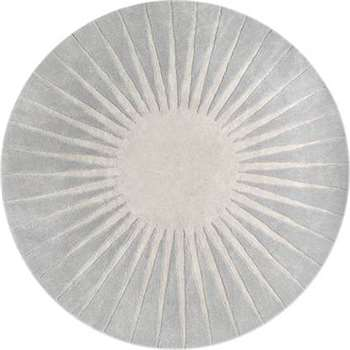 Vaserely Large Circular Wool Rug, Grey (200 x 200cm)