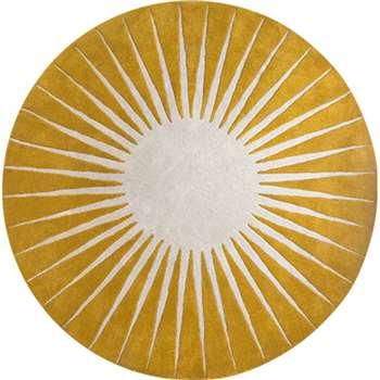 Vaserely Large Circular Wool Rug, Mustard (200 x 200cm)