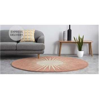 Vaserely Large Circular Wool Rug, Pink (H200 x W200cm)