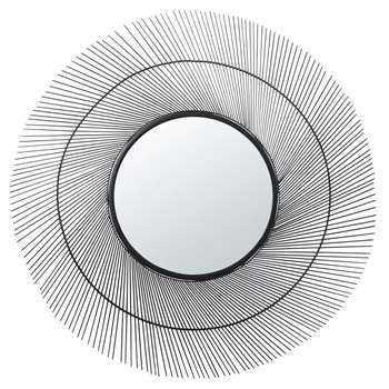 VASILIY Round Black Metal Wire Mirror (H99 x W99.5 x D1.5cm)