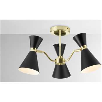 Vasilo Bathroom 3 Light Ceiling Lamp, Black & Brushed Brass (H27 x W44 x D44cm)