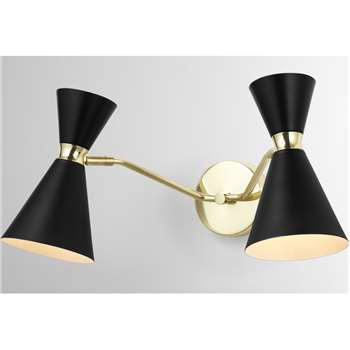 Vasilo Bathroom Double Wall Lamp, Black & Brushed Brass (H21 x W38 x D20cm)