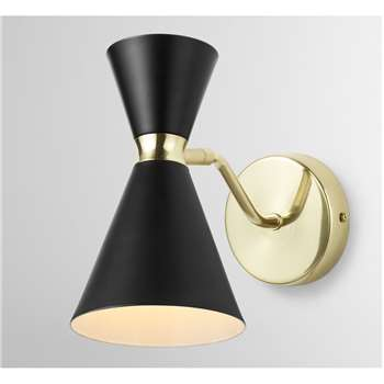 Vasilo Bathroom Wall Lamp, Black & Brushed Brass (H20 x W12 x D20cm)