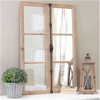 VAUCLUSE window mirror, wood and black metal H 120cm