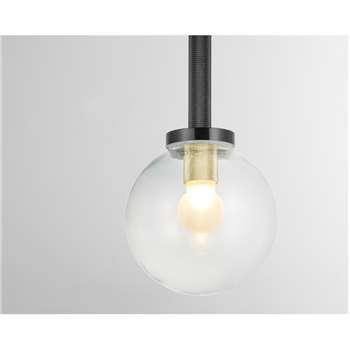 Vaughn Bathroom Pendant Lamp, Black and Brushed Brass (H13 x W100 x D13cm)