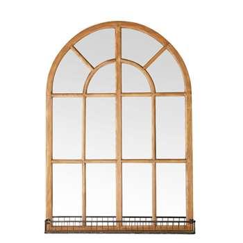 VAUVILLE Black Metal and Pine Window Mirror (108.5 x 77cm)