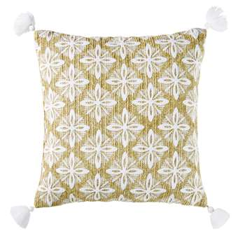 VEDA Woven Beige Outdoor Cushion with Embroidered Graphic Design (H45 x W45 x D10cm)