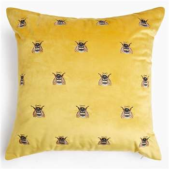 Velvet Bee Embroidered Cushion (H50 x W50cm)