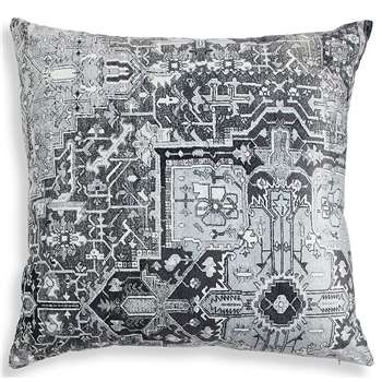 Velvet Kilim Motif Cushion, Grey Mix (H55 x W55cm)