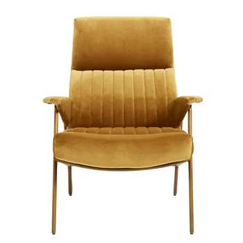 Velvet Mustard High Backed Chair (H91 x W79 x D90cm)
