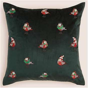 Velvet Robin Embroidered Christmas Cushion (H50 x W50 x D14cm)