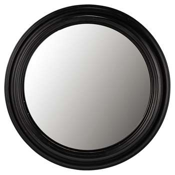 VENDOME Wooden Convex Mirror in Black (Diameter 90cm)