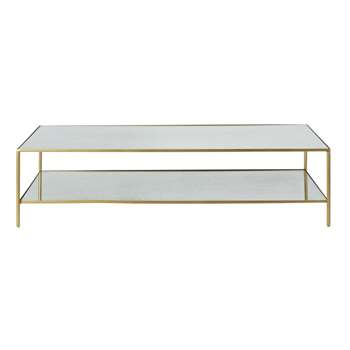 VENICIE - Brass Metal Coffee Table with Mirrored Surfaces (H35 x W140 x D60cm)