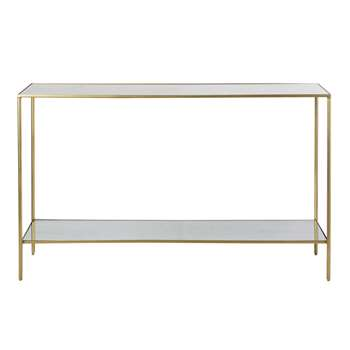 VENICIE - Brass Metal Console Table with Mirrored Surfaces (H81 x W130 x D35cm)