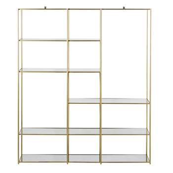 VENICIE - Metal and Tempered Glass Shelving Unit (H191 x W160 x D37cm)