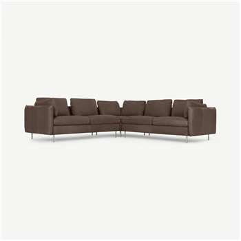 Vento 5 Seater Corner Sofa, Texas Charcoal Grey Leather (H77 x W258 x D258cm)