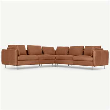 Vento 5 Seater Corner Sofa, Texas Tan Leather (H258 x W77 x D258cm)