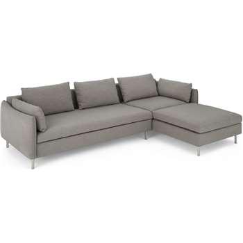 Vento Right Hand Facing Chaise End Sofa Bed, Manhattan Grey (H73 x W262 x D170cm)