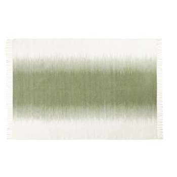 VERDE Ecru and Green Woven Wool Rug (H140 x W200 x D2cm)