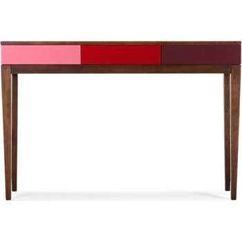 Vernay Console Desk, Dark Stain Ash with Multicolour Red (120 x 80cm)